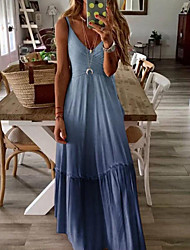 cheap -Women's Swing Dress - Solid Color Maxi Yellow Blushing Pink Navy Blue S M L XL