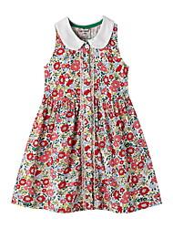Недорогие -Дети Девочки Цветочный принт Платье Красный