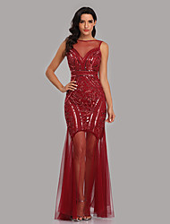 cheap -Mermaid / Trumpet Sparkle Sexy Party Wear Formal Evening Dress Illusion Neck Sleeveless Floor Length Tulle Sequined with Sequin 2021