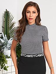 Недорогие -женская мода эластичная посадка плед с коротким рукавом тонкий топ