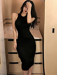 cheap -Women's Sheath Dress - Solid Color Wine Yellow Black One-Size