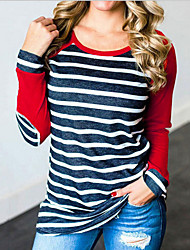 cheap -Women's Striped Blouse Daily Blue / Red / Yellow / Orange