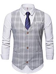 cheap -Men's Vest V Neck Polyester Gray / Khaki