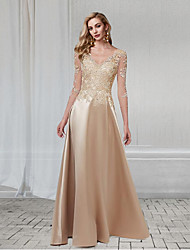 cheap -A-Line Elegant Wedding Guest Formal Evening Dress V Neck 3/4 Length Sleeve Floor Length Chiffon Lace with Appliques 2021