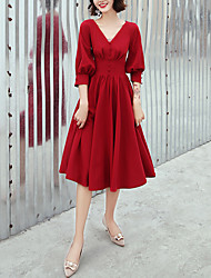 cheap -A-Line V Neck Knee Length Spandex Minimalist / Red Party Wear / Cocktail Party Dress with Buttons 2020