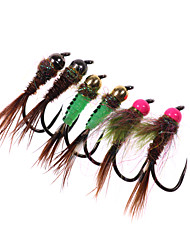 Недорогие -4 pcs Мухи Мухи Быстро-тонущие Bass Форель щука Ловля нахлыстом Пресноводная рыбалка Обычная рыбалка Металл