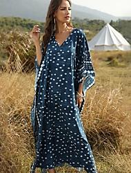 cheap -Women's Loose Dress - Print Blue Maxi One-Size