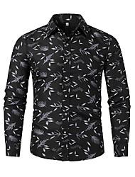cheap -Men's Plus Size Floral Color Block Shirt Basic Daily Weekend Black / Long Sleeve