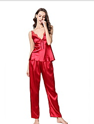 cheap -Women's Deep V Suits Pajamas Solid Colored