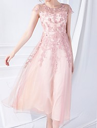 cheap -A-Line Mother of the Bride Dress Elegant Jewel Neck Ankle Length Polyester Short Sleeve with Beading Embroidery 2020