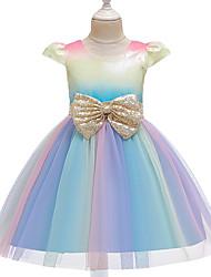 cheap -Unicorn Dress Flower Girl Dress Girls' Movie Cosplay A-Line Slip Cosplay Purple / Pink / Light Blue Dress Halloween Carnival Masquerade Tulle Polyester Sequin