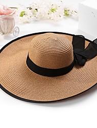 Недорогие -Жен. Классический Шляпа от солнца Солома,Однотонный Хаки Белый Бежевый
