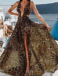 cheap -Women's Maxi Swing Dress - Sleeveless Leopard Deep V White Brown S M L XL