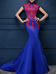 cheap -Mermaid / Trumpet High Neck Sweep / Brush Train Polyester Red / Blue Engagement / Formal Evening Dress with Appliques 2020
