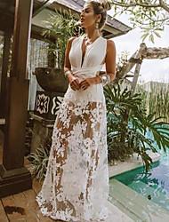 cheap -Women's Loose Dress - Solid Color Maxi White S M L XL