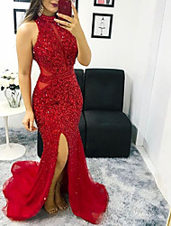 cheap -Mermaid / Trumpet Halter Neck Sweep / Brush Train Polyester / Tulle Glittering / Red Engagement / Formal Evening Dress with Sequin / Split 2020