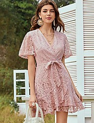 cheap -Women's A Line Dress - Solid Color Blushing Pink S M L XL
