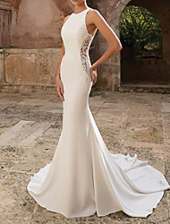 cheap -Mermaid / Trumpet Jewel Neck Floor Length Polyester Sleeveless Country Illusion Detail Wedding Dresses with Draping / Appliques 2020