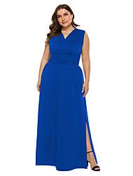 cheap -Women's Maxi Plus Size Blue Black Dress Party A Line Solid Color V Neck Split XL XXL