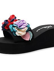 cheap -Women's Slippers & Flip-Flops Wedge Heel Open Toe Satin Flower Polyester Sweet / Chinoiserie Walking Shoes Summer Camel / Red / Light Pink