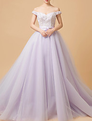 cheap -Ball Gown Elegant Purple Quinceanera Formal Evening Dress Off Shoulder Sleeveless Chapel Train Tulle with Lace Insert Appliques 2020