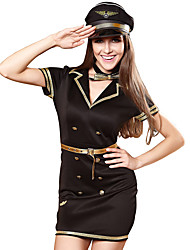 cheap -Police Adults' Women's Dress Outfits For Polyster Masquerade Dress Belt Hat / Neckwear