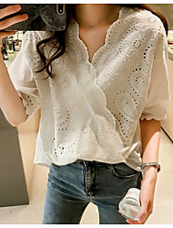cheap -Women's Plus Size Solid Colored Loose Blouse Daily V Neck White