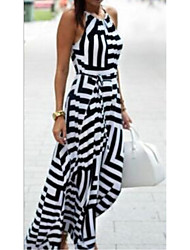 cheap -Women's Maxi Black Dress Sheath Striped Strap S M