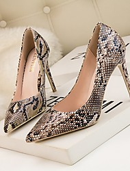 cheap -Women's Heels Print Shoes Stiletto Heel Pointed Toe PU Spring & Summer Yellow / White / Brown / Daily