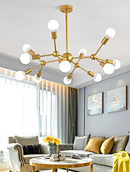 cheap -12 Heads 90cm Chandelier Sputnik Light Nordic Gold Black Painted Finishes Cluster Design Metal Ceiling Light for Living Room Bulb not Included 60W