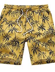 Недорогие -Муж. Богемный Шорты Брюки - тропический / Цветы Тропический лист, Цветочный Желтый US34 / UK34 / EU42 US36 / UK36 / EU44 US38 / UK38 / EU46