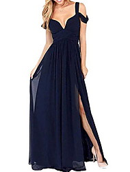 cheap -A-Line Spaghetti Strap Floor Length Chiffon Bridesmaid Dress with Tier
