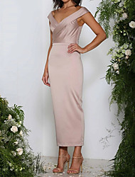 cheap -Sheath / Column V Neck Ankle Length Polyester Sleeveless Elegant Mother of the Bride Dress with Ruching 2020