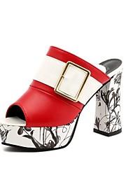 Недорогие -Жен. Сандалии Обувь для печати На толстом каблуке Открытый мыс Полиуретан Лето Красный / Белый / Черный