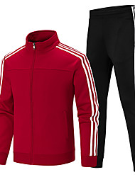 cheap -Men's 2-Piece Full Zip Tracksuit Sweatsuit Casual Long Sleeve Thermal / Warm Breathable Gym Workout Running Fitness Exercise Sportswear Plus Size Athletic Clothing Set Athleisure Wear Clothing Suit