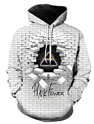 cheap -Men's Plus Size Hoodie Color Block / 3D / Cartoon Hooded Casual / Street chic White US32 / UK32 / EU40 US34 / UK34 / EU42 US36 / UK36 / EU44 US38 / UK38 / EU46 US40 / UK40 / EU48