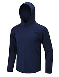 cheap -Men's Solid Colored T-shirt Sports Hooded Black / Navy Blue / Long Sleeve