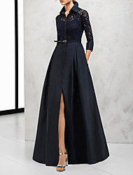 cheap -A-Line V Neck Floor Length Satin Elegant / Black Wedding Guest / Formal Evening Dress with Sash / Ribbon / Split / Lace Insert 2020