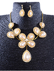 cheap -Women's Jewelry Set Classic Flower Stylish Imitation Pearl Gold Plated Earrings Jewelry Gold For Party Evening Festival 1 set