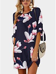 cheap -Women's Blue Dress A Line Floral S M