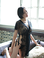 cheap -Women's Bow Satin & Silk Nightwear Solid Colored / Embroidered Black One-Size L
