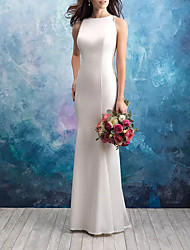 cheap -Mermaid / Trumpet Jewel Neck Sweep / Brush Train Satin / Tulle Sleeveless Casual Plus Size Wedding Dresses with Draping 2020