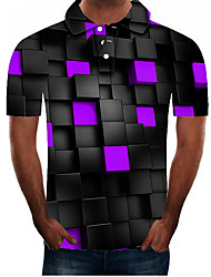 cheap -Men's Plus Size Graphic Slim Polo Street chic Exaggerated Daily Going out Shirt Collar Purple / Short Sleeve