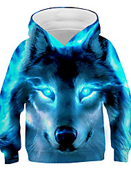 cheap -Kids Boys' Hoodie & Sweatshirt Long Sleeve Wolf Fantastic Beasts Graphic 3D Animal Print Children Easter Tops Active Cool Light Blue Navy Black 3-13 Years