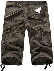 cheap -Bermuda Men's Basic Shorts Pants - Geometric Pattern Army Green Beige Gray US32 / UK32 / EU40 US34 / UK34 / EU42 US36 / UK36 / EU44