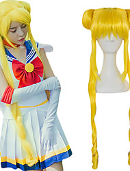 cheap -Sailor Moon Tsukino Usagi Cosplay Wigs Women's Straight bangs 39 inch Heat Resistant Fiber Plaited Silver Blonde Yellow Yellow Blonde Silver Anime
