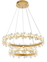 cheap -2-Light Nordic Style Crystal Simplicity LED Chandeliers Modern Gold 60/80Two laps Circle Design Living Room Bedroom Restaurant Pendant Lights