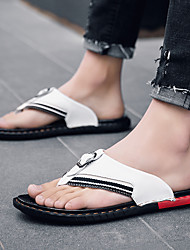 cheap -Men's Leather Spring & Summer Classic / British Slippers & Flip-Flops Walking Shoes Breathable White / Black / Dark Blue