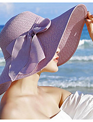 Недорогие -Жен. Классический Шляпа от солнца Солома,Однотонный Лиловый Желтый Розовый