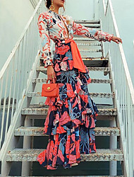 cheap -Women's A-Line Dress Maxi long Dress - Long Sleeve Floral Print Ruffle Spring & Summer Deep V Holiday Vacation Orange S M L XL XXL